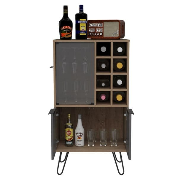 Vegas Bleached Oak Effect and Grey Wine Rack and Home Bar  with Storage